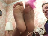 French pedicured feet tickled