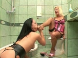 Lesbian milk enema interrupted by a Dom