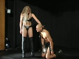 Trampling in high heel boots