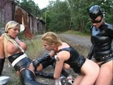 Hot lesbian ponygirls in latex get strapon fucked