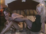 Feet and stockings worshipping lesbian