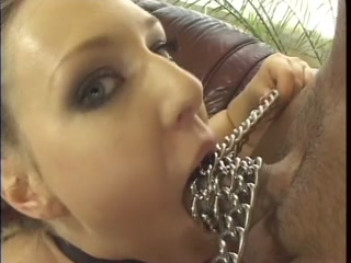 Leashed female sex slave