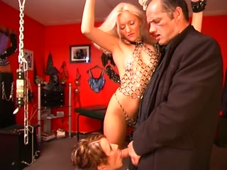 Female in bondage spanked