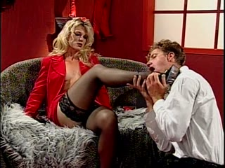Amazing blonde and her foot slave
