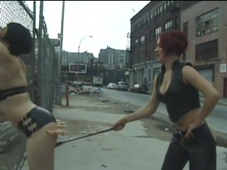Jennifer plays lesbian bdsm games outdoors