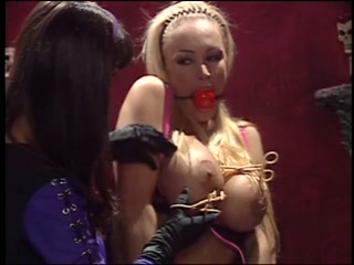 Lezdom Mistress and her sexy lesbian slaves in bondage