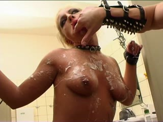 Electro bondage in the bathroom