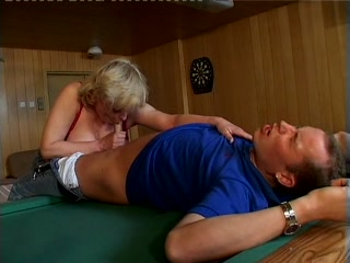 Mature lady fucked on a pool table