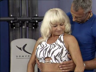 Skinny blond granny fucked in the gym