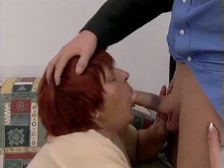 Granny sucking dick on her knees