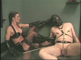 Mistress Kicking her BDSM Gimp