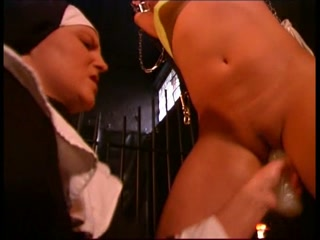 Wicked Nun and Innocent Blondie in Bondage
