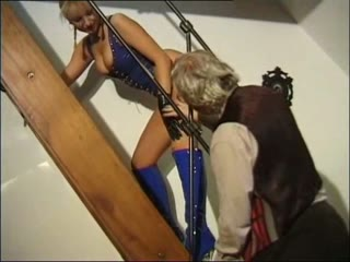 Young Latex Mistress Pleased by Dirty Old Man