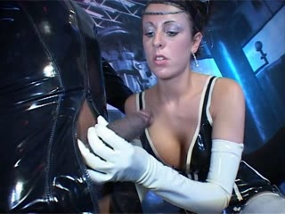 Princess in latex gets fucked by two guys in rubber
