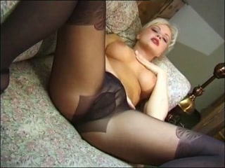 Hot Busty Blonde Solo in Sexy Black Nylons